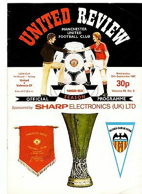 1982-1983 Manchester United v Valencia UEFA Cup  POST FREE