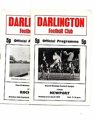 1974-1975 Darlington  Home Programmes - select the one you want POST FREE
