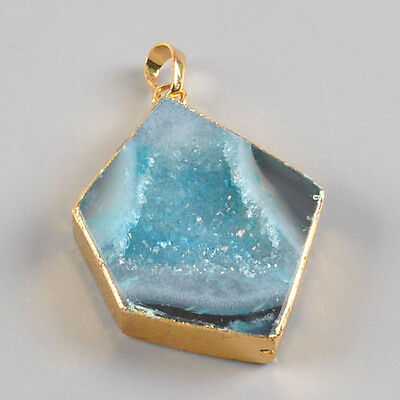 Gold Plated Blue Agate Druzy Cave Pendant Bead Q91685