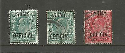 KING EDWARD VII ARMY OFFICIAL ½d GREEN x 2  1d RED USED  REF  79