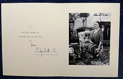HRH Elizabeth The Queen Mother Signed 1963 Christmas Card with Envelope AK112