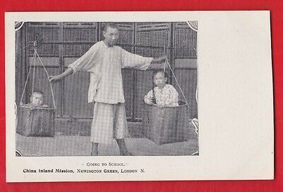 China inland mission, Chinese children going to school, Postcard