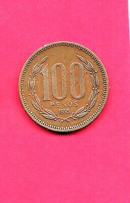 CHILE CHILEAN KM226.2 1995 older  VF-VERY FINE-NICE LARGE 100 PESO COIN