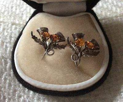 Vintage 1950s Double Scottish Thistle Silver & Topaz Screw Back Earrings by WBs