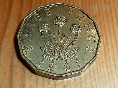 British - Three Pence Coin - 1941 - George Vi - Great Lustre Coin - Near Mint