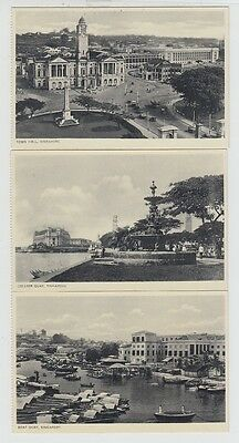 3 X Straits Settlements Old Postcard Singapore Town Hall Quay !!