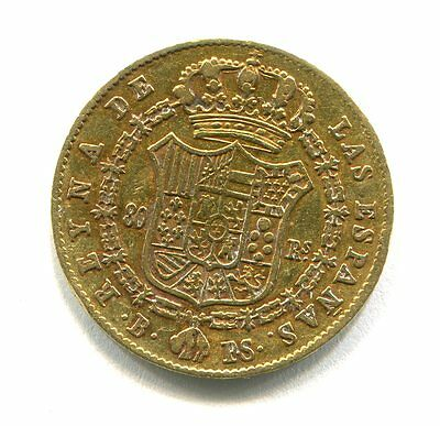 80 Reales Oro Gold Isabel Ii 1845 Barcelona