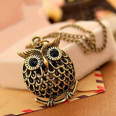 Chic Small Owl Women Charm Long Chain Necklace Pendant Sweater Decoration Party