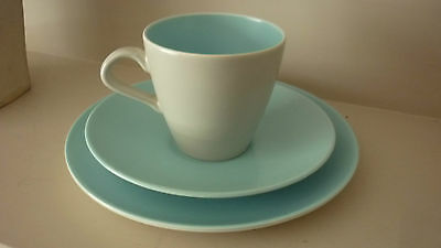 Poole Pottery Twintone Sky Blue and Dove Grey Cup Saucer and side plate trio