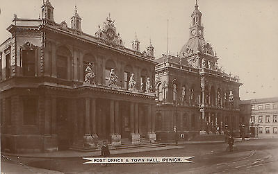 1917 used postcard ~ Post Office & Town Hall Ipswich