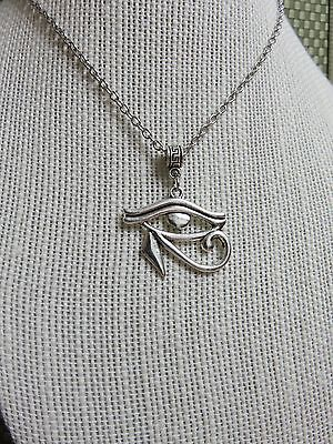 "HIPPIE HIP HOP Jewelry SILVER PLATE ""EYE OF HORUS"" PENDANT NECKLACE GOTH EGYPT"
