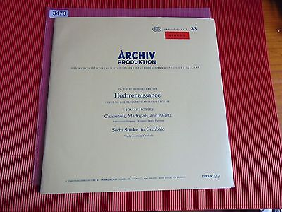 3478 MORLEY Canzonets, Madrigals, Ballets, Cembalostücke V.AVELING Archiv 198309