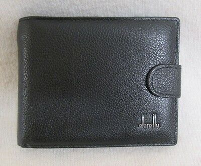 Mens Black Leather Wallet Qian Xilu