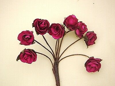 Dolls House Flowers 8 Red (Cerise) Roses  #65ac