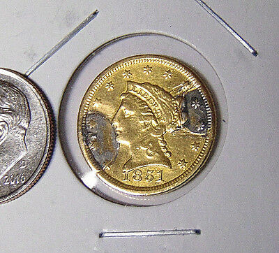 1851 Liberty $2.50 Gold Quarter Eagle Fancy Engraved Reverse Love Token