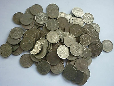 Gt Britain - 50 X Circulated George Vi & Elizabeth Ii Sixpence Coins - 1947-1967