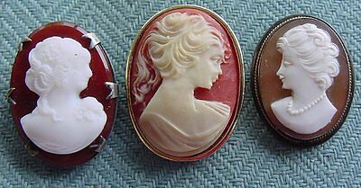 Cameo Vintage 3 Pins Brooches - 1 Sterling - 1 Marked 835