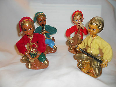4 Vintage christmas elves carrying music instruments  Golden Fantasy by Pacific