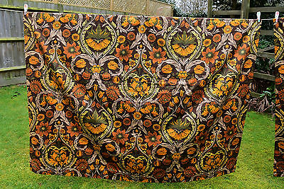 "Amazing Vintage Curtains William Morris Print Brown Orange & Gold 60"" X 59"" each"