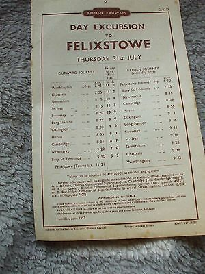 A BR handbill for Excursion to Felixstowe from Wimblington, Chatteris etc, 1952.