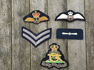 Lot of 5 Military / RAF Cloth Badges insignia