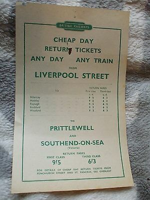 BR handbill Cheap Day returns to Prittlewell and Southend from Liverpool Street.