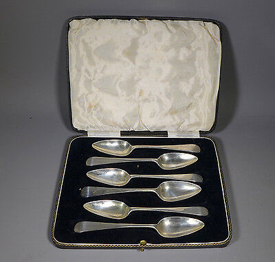 FINE BOXED SET 6 SOLID HALLMARKED SILVER GRAPEFRUIT SPOONS, SHEFFIELD 1912, 114g