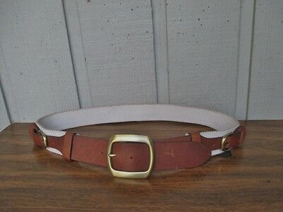 Handmade Genuine Cow Leather and Cotton Blend Canvas Belt Size 34.Brown.