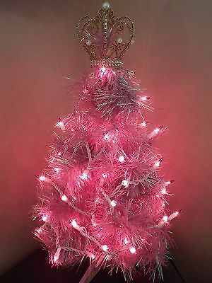 "Artificial Lavendar Christmas Tree 21"" with Crown, Lights and Ornaments"