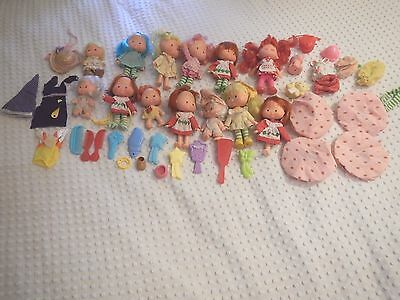 Vintage lot of 13 Strawberry Shortcake clothes pets combs brushes hats & friends
