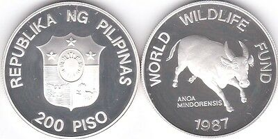 Philippines Silver Proof 200 Piso 1987 Animal Bull
