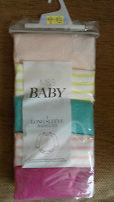 Marks And Spencer Bnwt Baby Girls Age Up To 1 Month  5 Long Sleeve Bodysuits