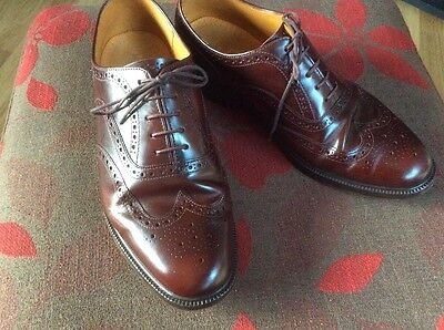English Leather Brogues 9.5 Uk Mens Chestnut Brown M&s Quality Style