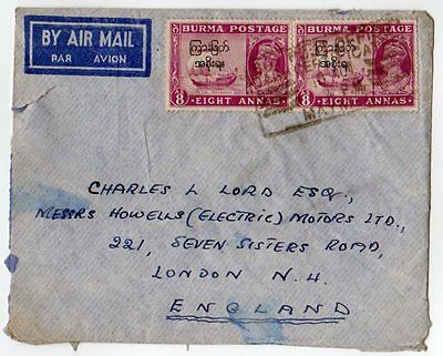 Burma 1947 KGVI interim ovpt. Airmail cover to UK - Maymyo