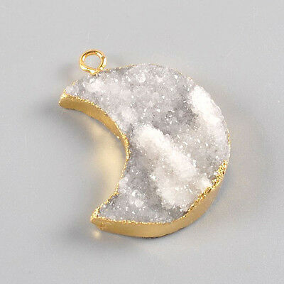 Crescent Gold Plated Natural Agate Druzy Charm Pendant Bead Q91591