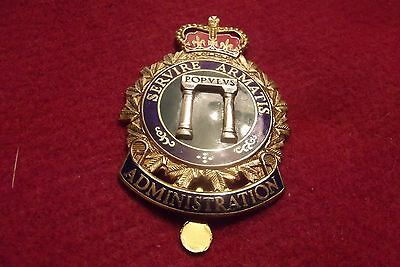 Queens Crown Cap Badge To The Canadian Forces Administration Branch Maker Marked