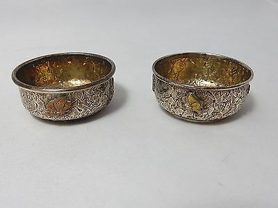 Very rare sterling and mixed metals Dominick and Haff salt cellars very crisp!