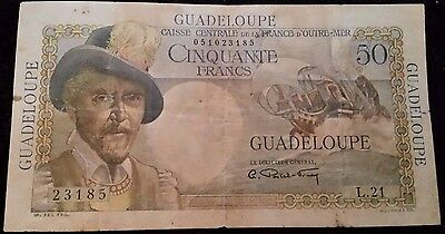"""Série:L.21"""" rare 50frs GUADELOUPE..BANK OUTRE-MER"""