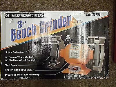 Central Machinery 8 in. Bench Grinder 3/4 HP 3450 RPM Adjustable Tool Rest