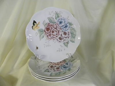 LENOX CHINA ~ Butterfly Meadow Hydrangea Luncheon Plates ~ Set of 4