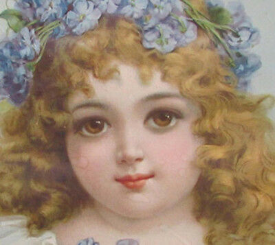 Sale, Brundage ? All Orig Old Sm. Girl Litho In Round Frame, Pipe Cover Pic M47