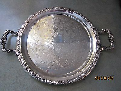 "antique F B Rogers 16"" handled  silverplate round serving tray 1603 since 1883"