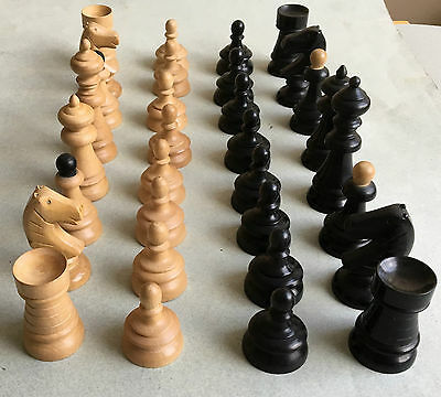 Large unusual VINTAGE WOODEN CHESS SET boxwood 82mm king Tattersall Ltd