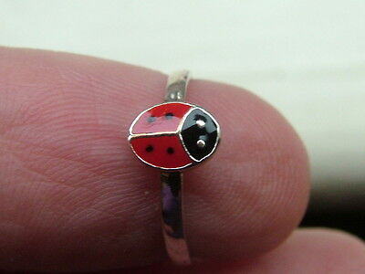 Silver Ladybird Ring Enamelled