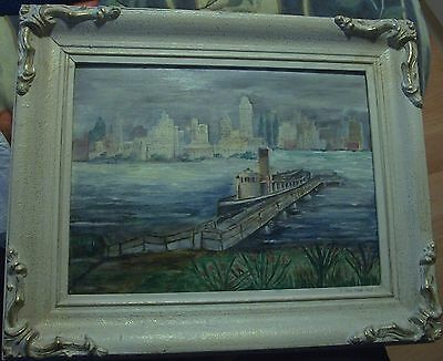 Atmospheric Art Deco Wpa Era Oil Painting Board Signed E.potts N.y Ferry