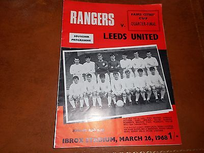GLASGOW RANGERS  v  LEEDS UNITED  1967/8  INTER CITIES FAIRS CUP 1/4 FINAL