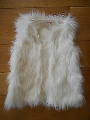 Girls Lined Cream Shaggy Gilet age 7-8 by Bluezoo