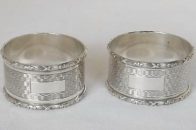 A Stunning Pair Of Solid Sterling Silver Napkin Rings Birmingham 1947.