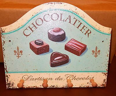 Wooden Shabby Chic Chocolatier design Small Key Holder wall plaque