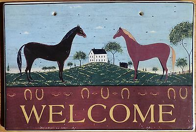 Welcome with horses wall hanging